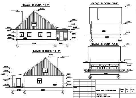На чертежах имеется план дома, фасад, разрез, чертежи плана кровли (крыши), чертежи фундамента.